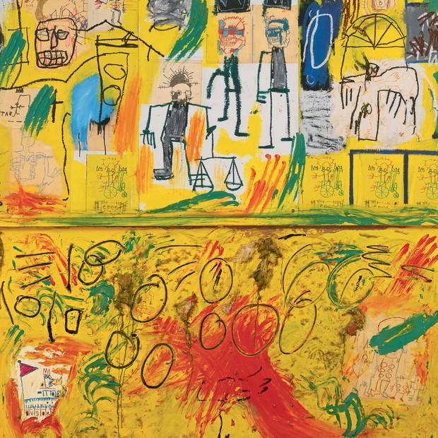 Sem Título (Penas e Alcatrão Amarelo), de 1982 (Foto: © Edo Bertoglio, Cortesia De Maripol, © The Estate Of Jean-Michel Basquiat/ Licenciado Por Artestar e Divulgação)