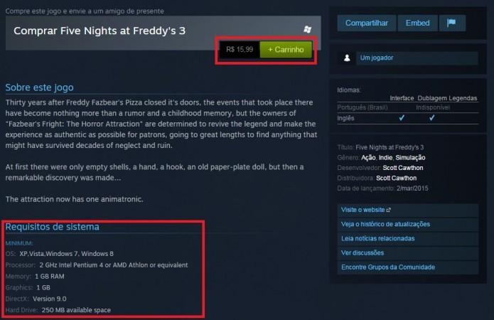 Five Nights at Freddys 3 é barato e roda em praticamente qualquer computador (Foto: Reprodução/Paulo Vasconcellos)