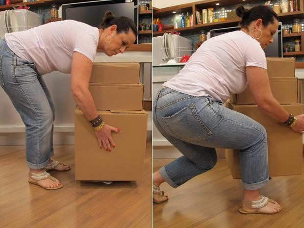 Para pegar objetos pesados no chão, a dica principal é flexionar os joelhos para não sobrecarregar a coluna (Foto: Mariana Palma/G1)