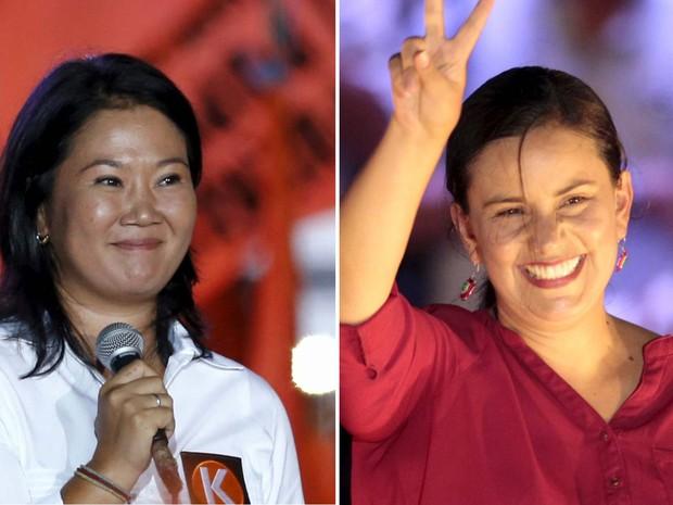 Keiko Fujimori, favorita, e Veronika Mendoza disputam corrida poresidencial para ser a primeira mulher presidente do Peru (Foto: REUTERS/Mariana Bazo/ Janine Costa)
