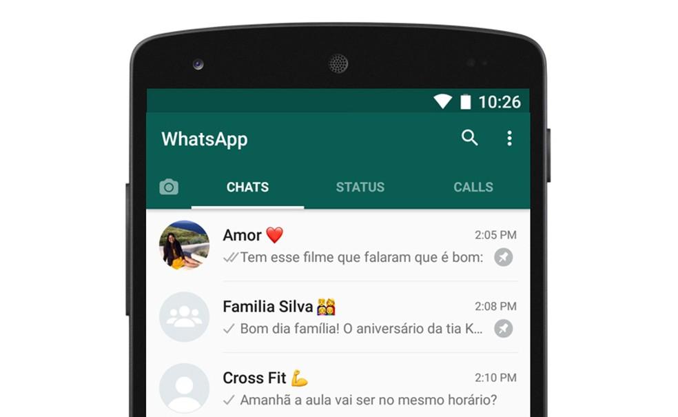 WhatsApp agora permite fixar conversas no topo da janela de mensagens (Foto: Divulgação)