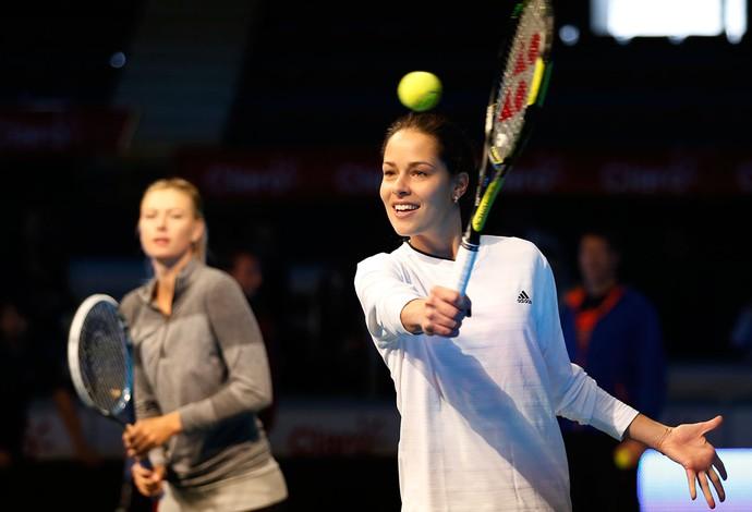 Sharapova e Ivanovic tênis evento na Colômbia (Foto: AP)
