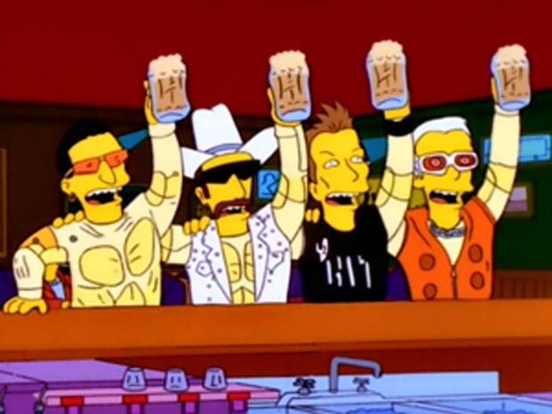Os integrantes do U2 durante participação em 'Os Simpsons' (Foto: Divulgação)