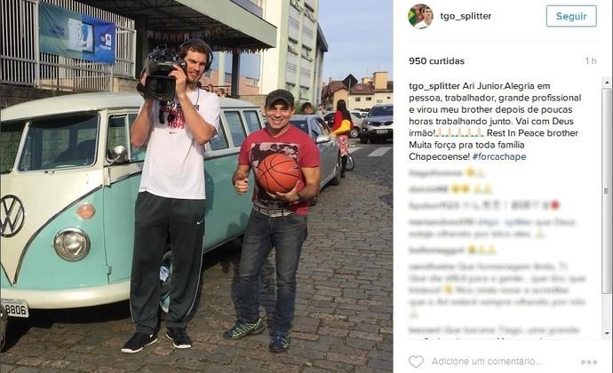 Thiago Splitter posta homenagem ao cinegrafista Ari Júnior (Foto: Reprodução/Instagram)