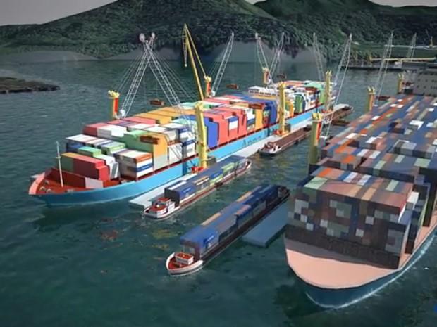 Plataforma logística distribuiria os produtos em que transportarão os contêineres até os navios (Foto: Contern/Divulgação)