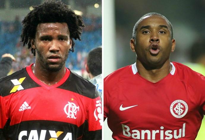 Flamengo e Internacional se enfrentam nesta quarta-feira, às 19h30, no Estádio Kleber Andrade, em Cariacica, no Espírito Santo (Foto: Montagem/GE)