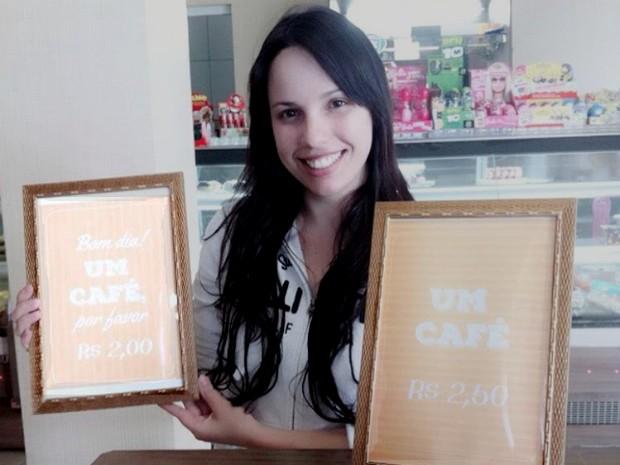 A estudante Juliana, que também é funcionária da cafeteria, foi uma das criadoras da campanha (Foto: Arquivo pessoal/ Juliana)