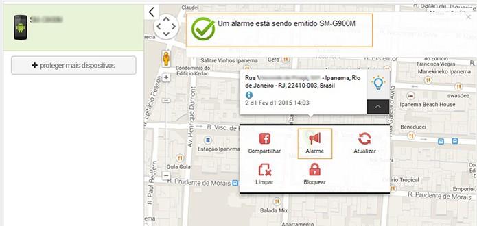 Mapa mostra localização do celular e pode ativar alarme Antiperda (Foto: Reprodução/Barbara Mannara)