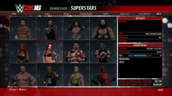 Algumas das criações da comunidade de WWE 2K16 (Foto: Reprodução/André Mello)