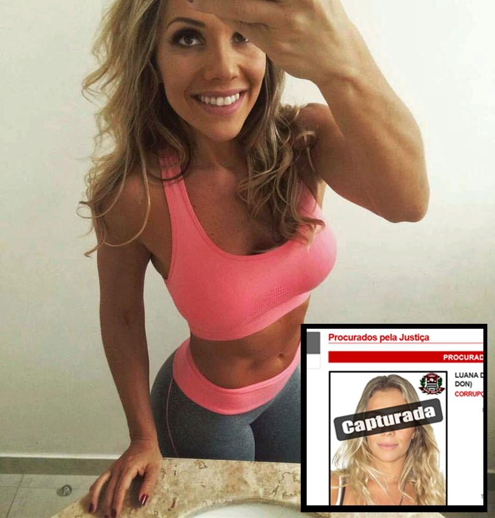 Luana Don em dois momentos: antes e depois da prisão, quando apareceu como capturada no site da Polícia Civil de São Paulo (Foto: Reprodução/Redes Sociais/Polícia Civil de SP)
