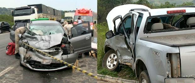 Carro bateu na lateral da caminhonete, na Rodovia do Contorno (Foto: Reprodução/ TV Gazeta)