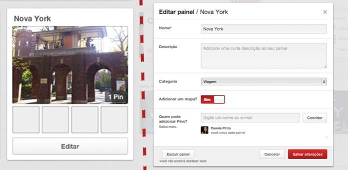 Vá em editar painel e habilite a opção para adicionar um mapa (Foto: Reprodução/ Pinterest) (Foto: Vá em editar painel e habilite a opção para adicionar um mapa (Foto: Reprodução/ Pinterest))