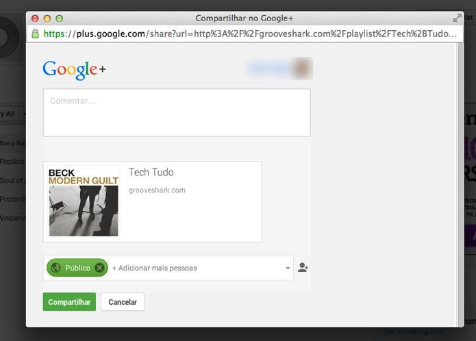 Compartilhando no Google+ (Foto: Reprodução/André Sugai)