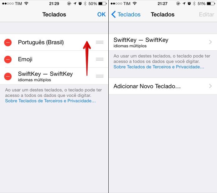 Definindo o teclado padrão do iOS 8 (Foto: Reprodução/Helito Bijora)