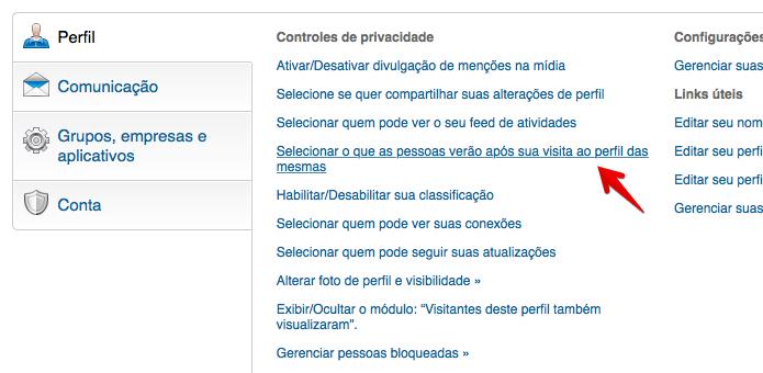 Clique sobre o local indicado para configurar a privacidade (Foto: Reprodução/Helito Bijora)