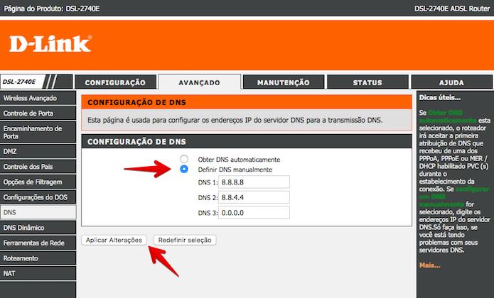 Configuração de servidor DNS no roteador D-Link (Foto: Reprodução/Helito Bijora)