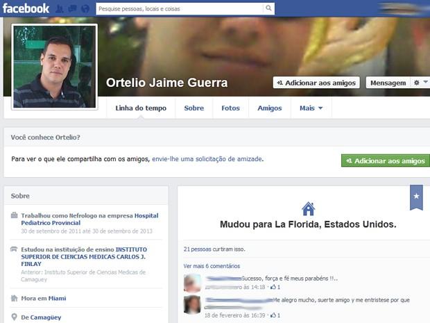Página pessoal de médico cubano que abandonou programa 'Mais Médicos' (Foto: Reprodução/Facebook)