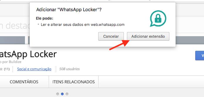 Opção para instalar o WhatsApp Locker no Google Chrome (Foto: Reprodução/Marvin Costa)