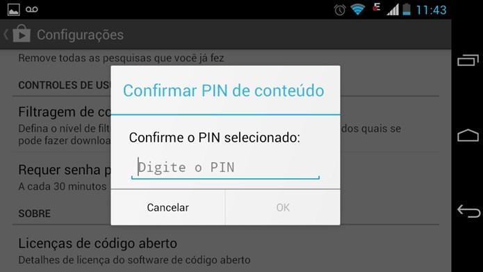 Número PIN será exigido para alterar opção de exibição de conteúdo (Foto: Reprodução / Dario Coutinho)