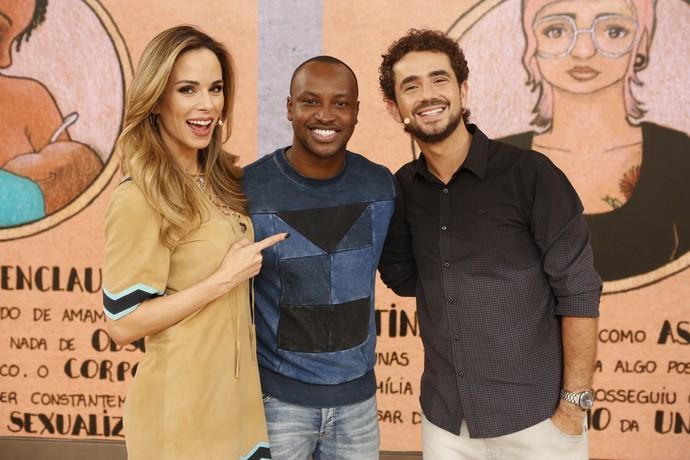 Ana Furtado, Thiaguinho e Felipe Andreoli nos bastidores do 'Encontro' (Foto: Ellen Soares/Gshow)