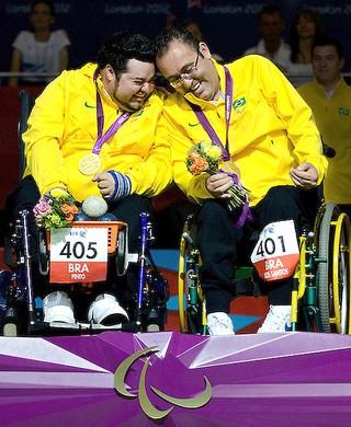Dirceu Pinto e Eliseu dos Santos bocha ouro Paralimpíadas (Foto: Guilherme Taboada / CPB)