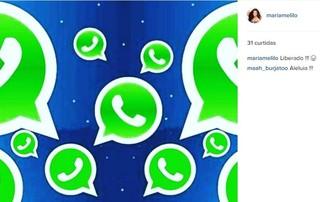 Maria Melilo comemora volta de whatsup (Foto: Instagram / Reprodução)