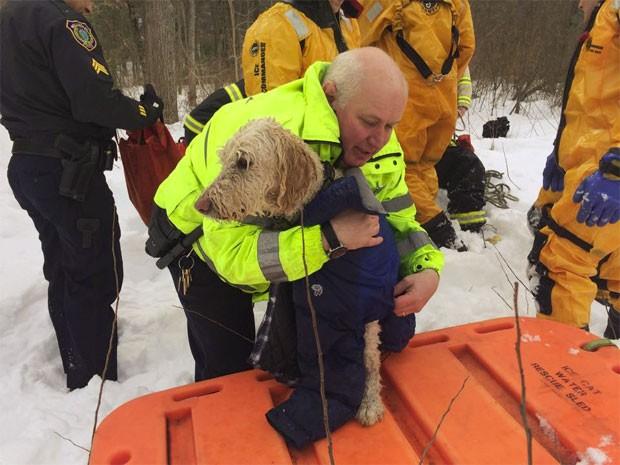 Bombeiros usando roupas térmicas à prova d'água entraram no rio para resgatar o cachorro. A retirada demorou cerca de 15 minutos (Foto: Reprodução/Facebook/Wellesley Police Department)