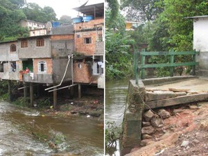 Moradores de casas na beira do Rio Paquequer, em Teresópolis, temem nova tragédia provocada pela chuva (Foto: Tássia Thum/G1)