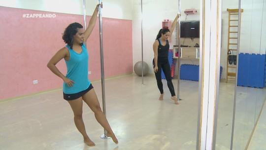 Isa Lima encara desafio de Pole Dance