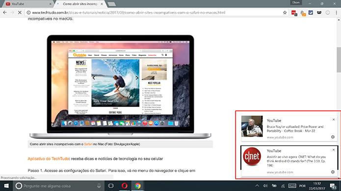 YouTube mostra notificações na área de trabalho quando Chrome está aberto (Foto: Reprodução/Elson de Souza)