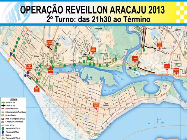 Veja o trajeto mais indicado para o retorno da festa de réveillon (Foto: Divulgação/SMTT)