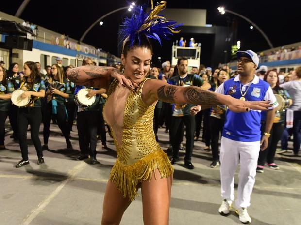 Dani Bolina em ensaio da Unidos de Vila Maria no sambódromo do Anhembi, em São Paulo (Foto: Leo Franco/ Ag. News)