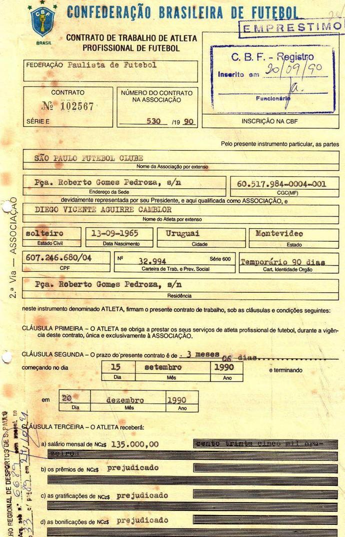 contrato Diego Aguirre São Paulo 1990 (Foto: Arquivo Histórico/São Paulo FC)