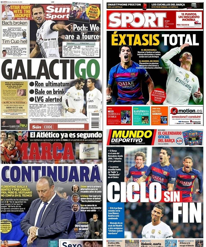 Capas jornais Real Madrid x Barcelona