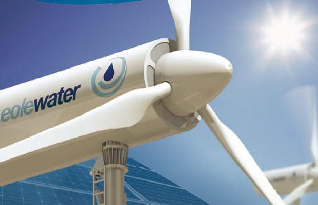 Parece apenas um gerador eólico, mas trata-se de um equipamento capaz de produzir água líquida a partir da humidade do ar.  (Foto: Reprodução)