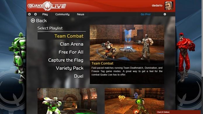 Quake Live possui 12 modos de batalha no total  (Foto: Reprodução / Dario Coutinho)
