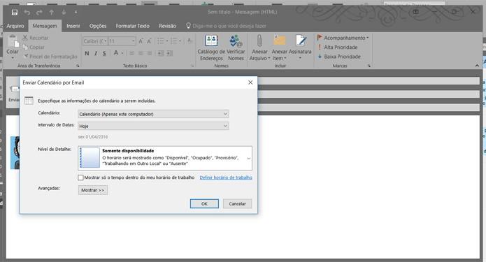 Outlook configura uma mensagem com um calendário detalhado para envio (Foto: Reprodução/Filipe Garrett)