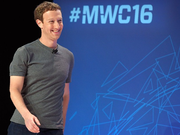 Mark Zuckerberg, presidente-executivo do Facebook, no Mobile World Congress 2016. (Foto: Lluis Gene / France Presse)