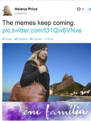 Montagem feita no Twitter com Helena Price, fotógrafa americana (Foto: Reprodução/Twitter)