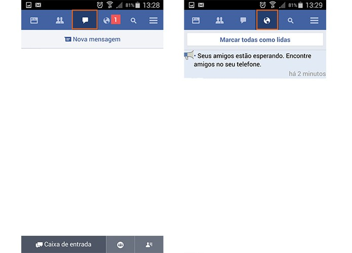 Acesse suas mensagens pessoais e notificações no Facebook Lite (Foto: Reprodução/Barbara Mannara)