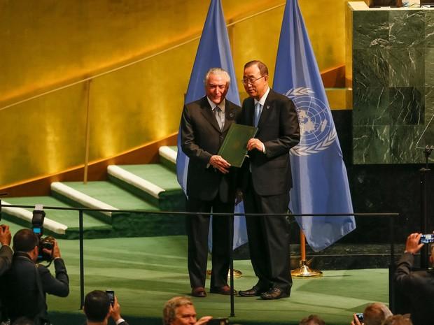 Presidente Michel Temer durante evento de Alto Nível para Depósito de Ratificações do Acordo de Paris sobre Mudança do Clima. (Nova Iorque - EUA, 21/09/2016) Foto:  (Foto: Beto Barata/PR)
