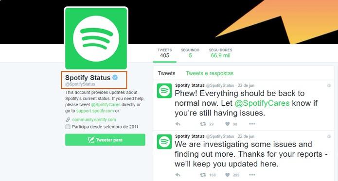 Acesse o perfil de Status de funcionamento do Spotify (Foto: Reprodução/Barbara Mannara)
