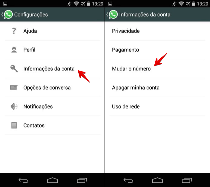 Alterando o número do WhatsApp