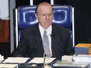 O senador José Sarney (PMDB-AP), na despedida do cargo de presidente do Senado (Foto: José Cruz/Agência Senado)