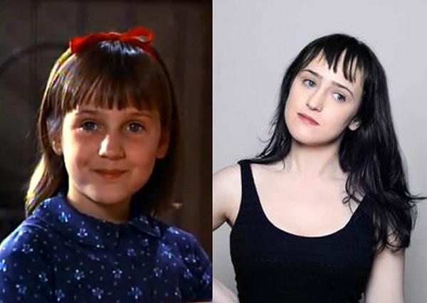 Mara Wilson em 'Matilda' (1996) e em foto divulgada no seu site recentemente (Foto: Divulgação)