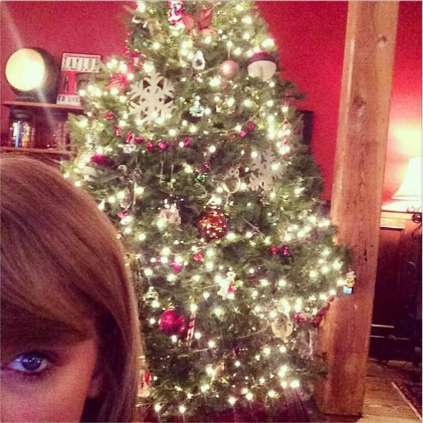 A cantora Taylor Swift, que por sinal teve um 2014 bem bacana em termos profissionais, afirma que montou sozinha essa árvore de Natal. Nem parece a criatura desajeitada do clipe de 'Shake It Off'. (Foto: Instagram)