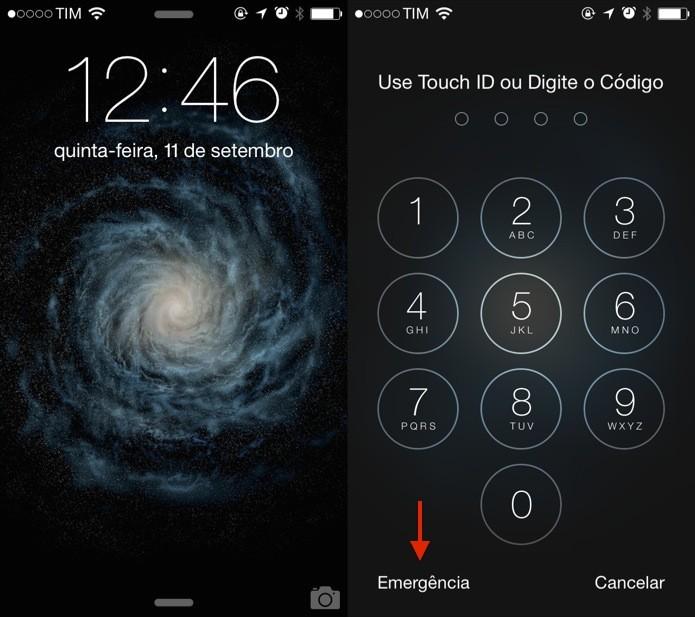 Tela de bloqueio do iOS 8 (Foto: Reprodução/Helito Bijora)