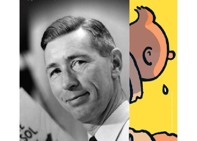 Hergé, o criador de Tintim em exposição no Grand Palais de Paris.