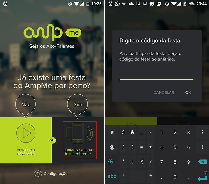 AmpMe pedirá código ao celular que servirá como caixa de som para entrar em festa (Foto: Reprodução/Elson de Souza)