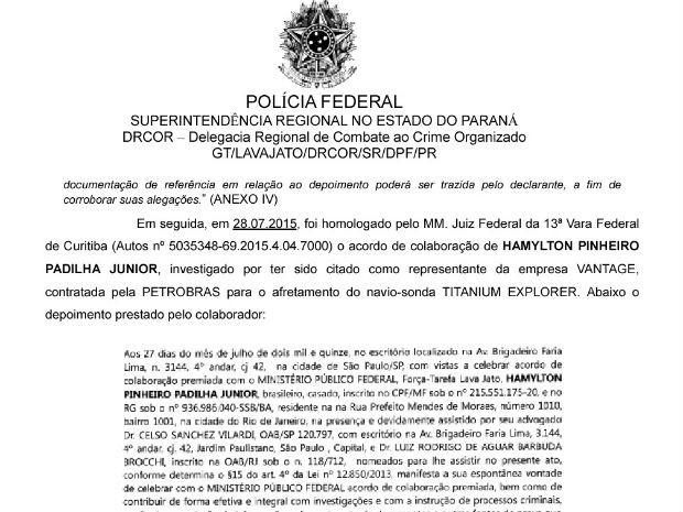 Polícia Federal cita acordo de delação premiada de Hamylton Pinheiro Padilha (Foto: Reprodução)